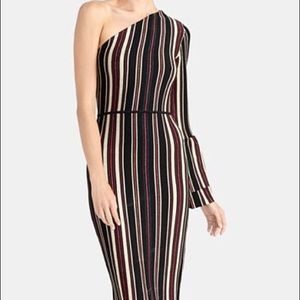 RACHEL Rachel Roy One-Shoulder Striped Midi Dress
